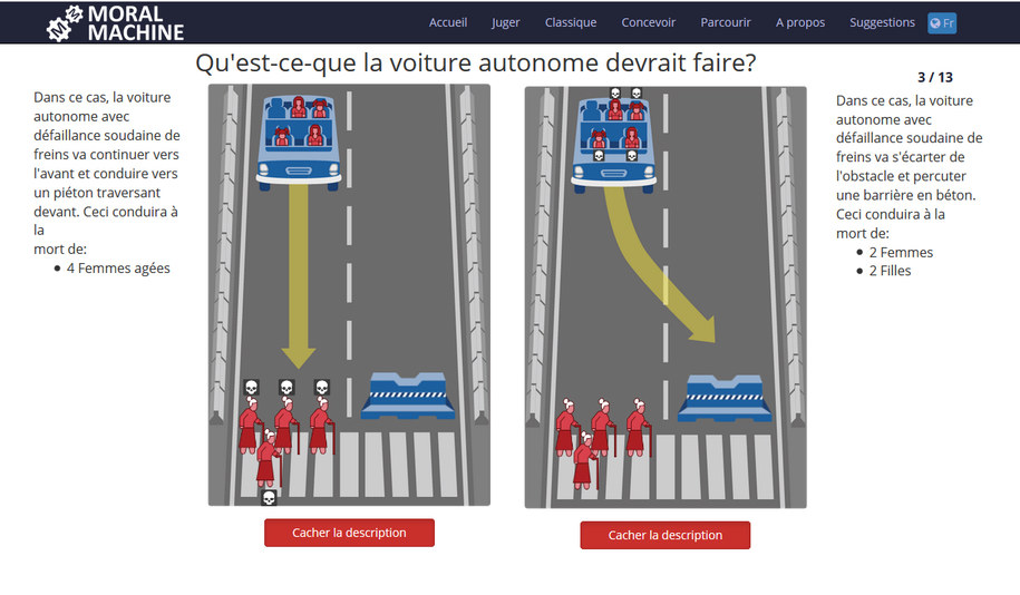 Przykładowy dylemat z francuskiej wersji gry Moral Machine /Edmond Awad et al. Nature. /Materiały prasowe