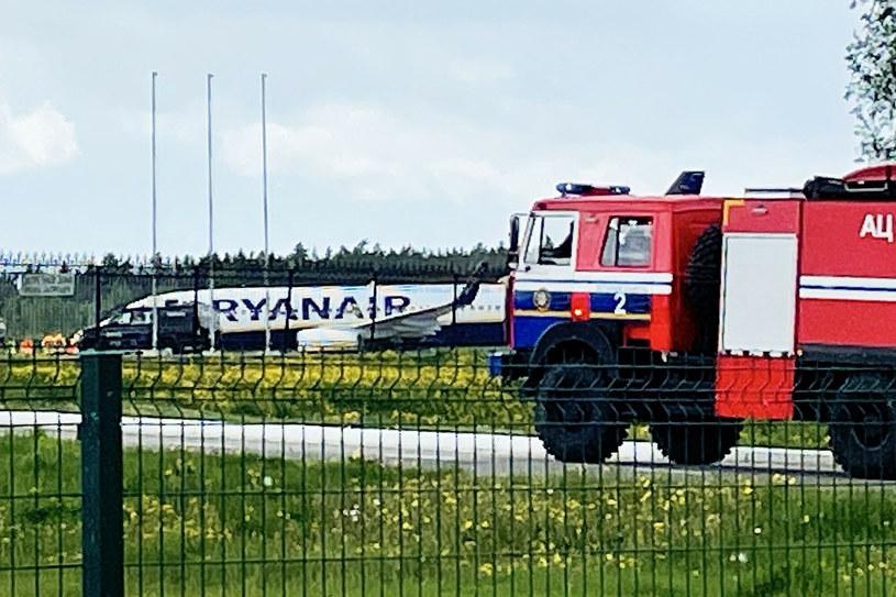 Przymusowe lądowanie samolotu linii Ryanair w Mińsku /EastNews /AFP
