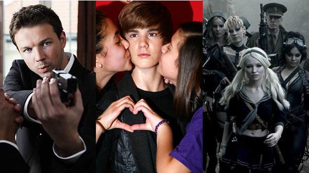 """Przystojny policjant (""""Los numeros""""), seksowne mścicielki (""""Sucker Punch"""") oraz Justin Bieber (C) /materiały dystrybutora"""