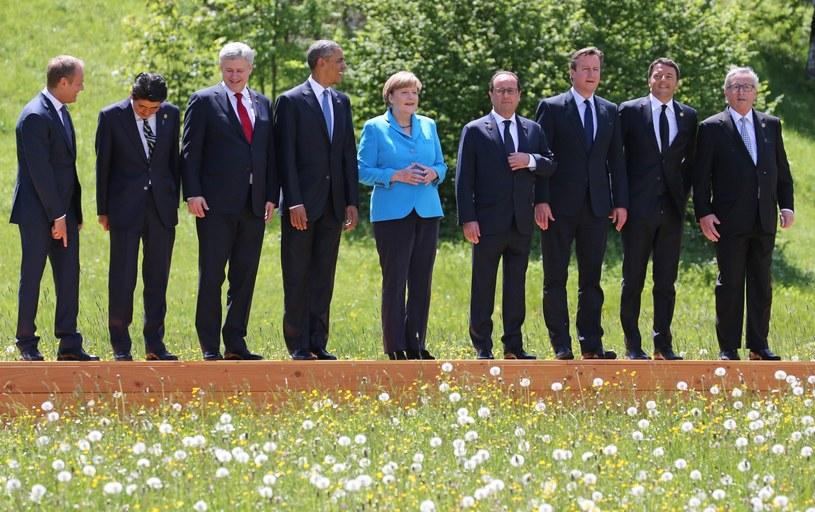 Przywódcy biorący udział w szczycie G7 /PAP/EPA
