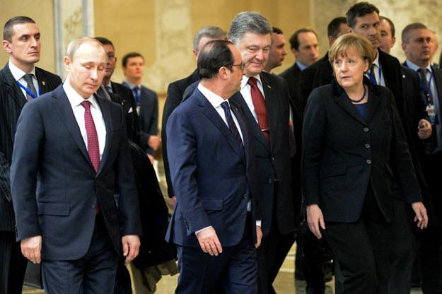 Przywódcy Niemiec, Francji, Rosji i Ukrainy podczas spotkania w Mińsku fot. Maxim Malinovsky /AFP