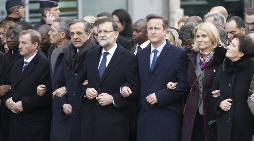 Przywódcy państw na marszu w Paryżu /PAP/EPA
