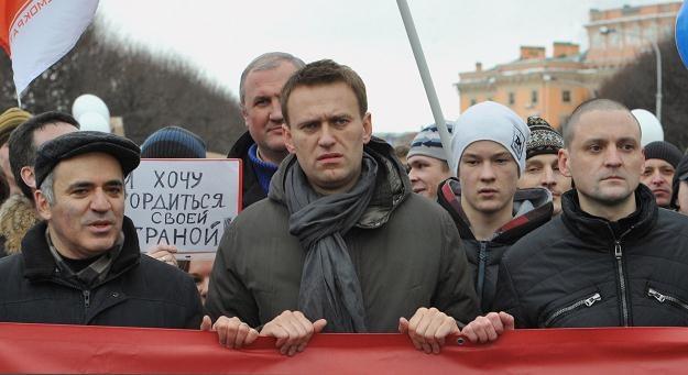 Przywódcy rosyjskiej opozycji: Kasparow, Nawalny i Udalcow /AFP