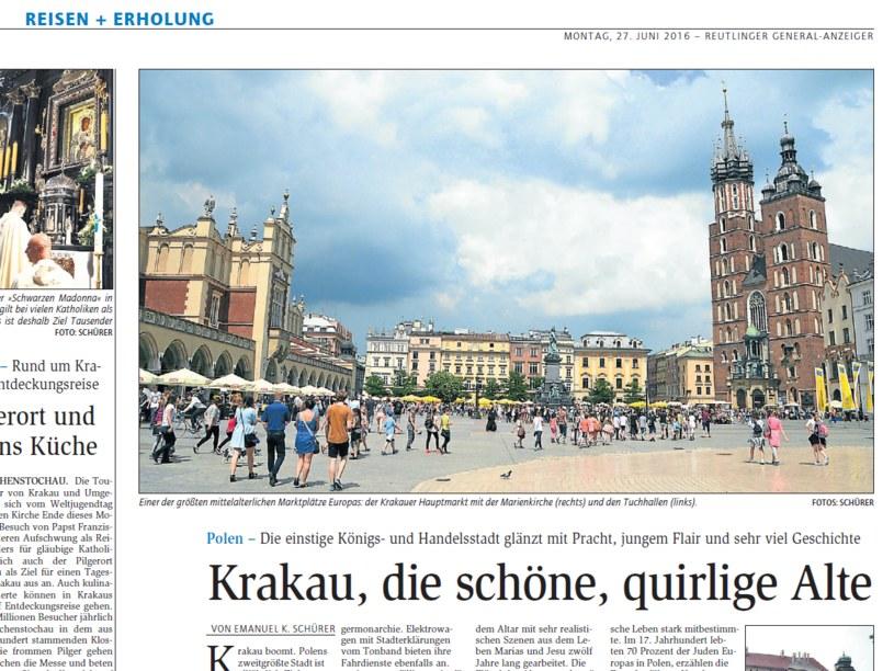 Publikacja w niemieckiej prasie nt. Krakowa /