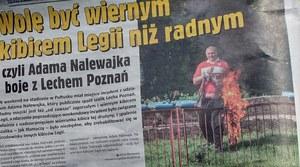 Pułtusk: Szokujące zachowanie radnego. Spalił szalik Lecha Poznań