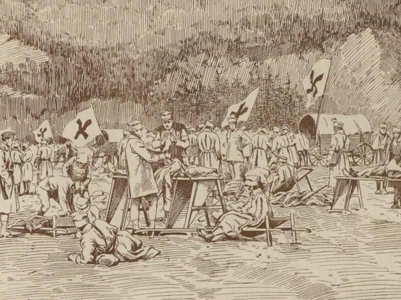 Punkt sanitarny Legionów na Wołyniu na rysunku Franciszka Zajchowskiego /Ciekawostki Historyczne