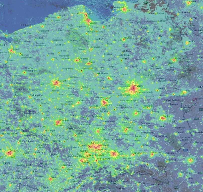 Punkty, gdzie najlepiej będą dziś widoczne Perseidy /lightpollutionmap.info /