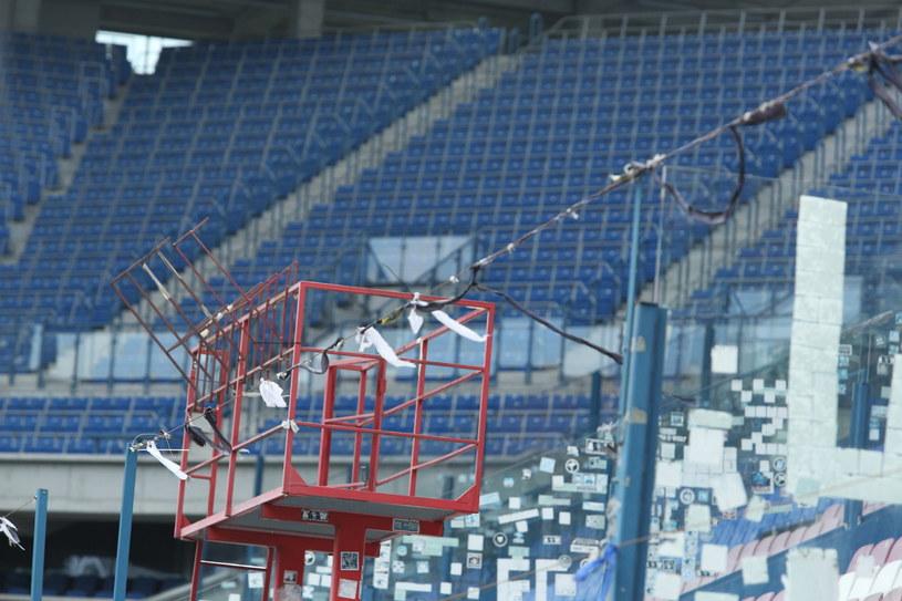 Puste trybuny stadionu Wisły Kraków /Stanisław Rozpędzik /PAP