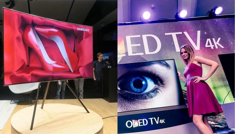 QLED (po lewej) i OLED (po prawej) - dwie technologie produkcji telewizorów z wyższej półki /INTERIA.PL
