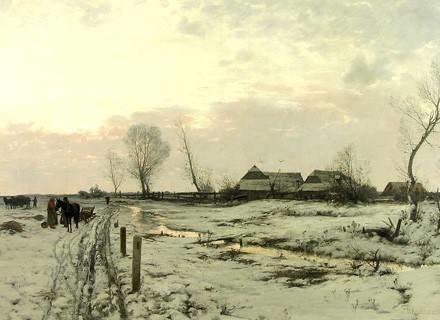 R. Kochanowski, Pejzaż zimowy, 1887, ol., płótno, wł. prywatna /materiały prasowe