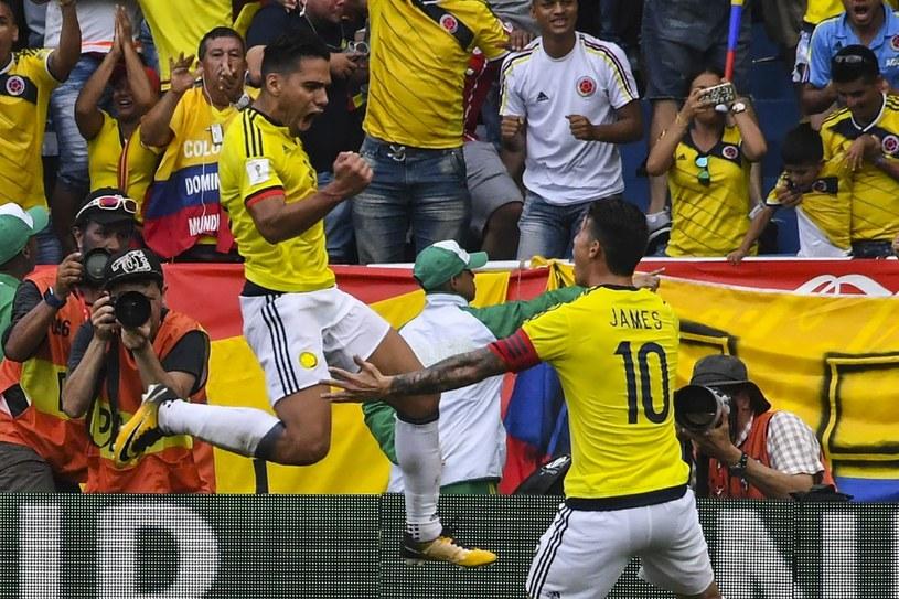 Radamel Falcao i James Rodriguez podczas meczu eliminacyjnego z Brazylią /AFP