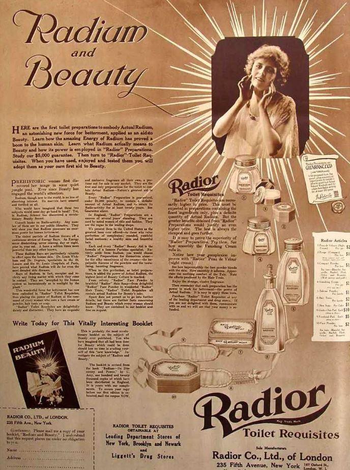 """Radior był popularnym preparatem, który miał dodać """"radioaktywnego blasku"""". Reklama z 1918 roku /Domena publiczna /INTERIA.PL/materiały prasowe"""