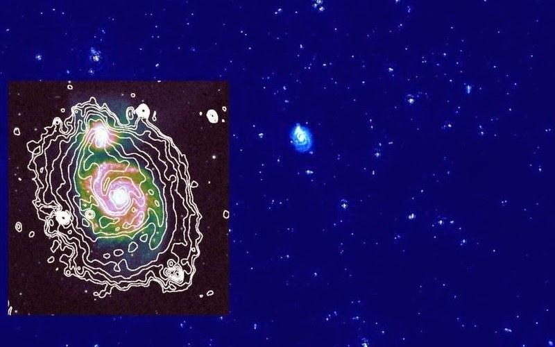 Radioteleskopy LOFAR zobrazowały po raz pierwszy w paśmie radiowym pobliską galaktykę M51. /materiały prasowe