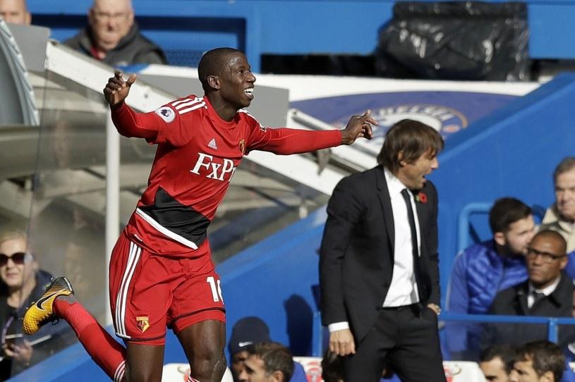Radość Abdoulaye'a Doucoure'a. W tle Antonio Conte, trener Chelsea Londyn /Matt Dunham   /East News