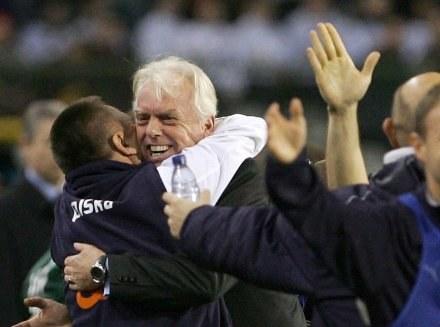 Radość holenderskiego trenera po meczu z Belgią /AFP