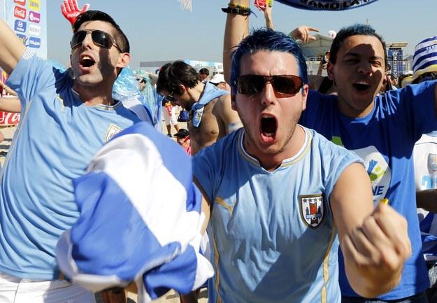 Radość kibiców z Urugwaju //ABEDIN TAHERKENAREH /PAP/EPA