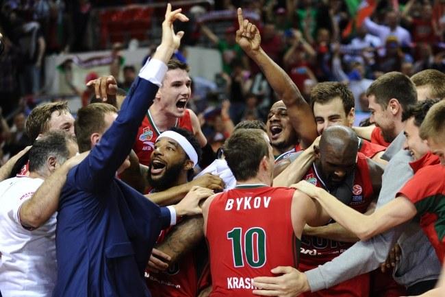 Radość koszykarzy Lokomotiwu Kubań Krasnodar /PAP/EPA