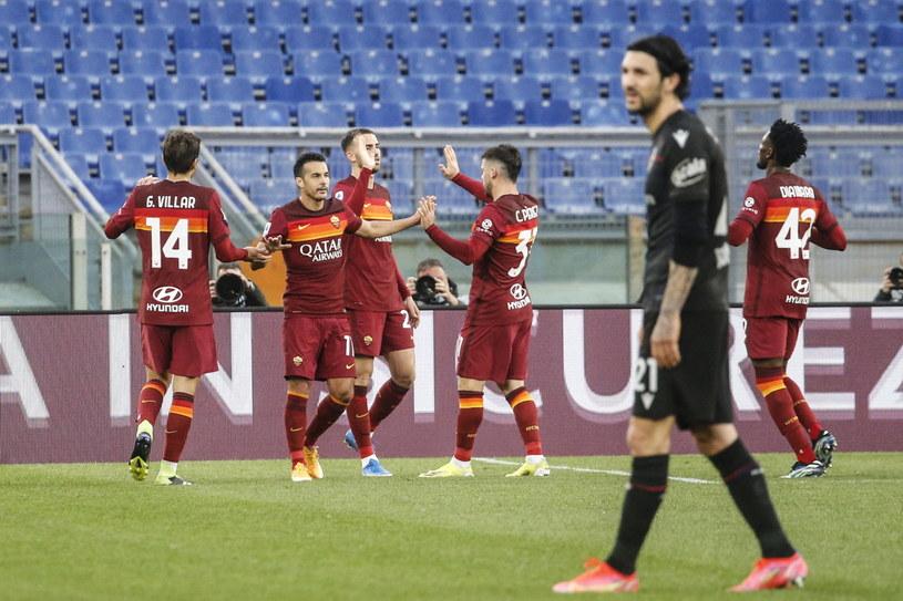 Radość piłkarzy AS Roma /Fabio Frustaci /PAP/EPA