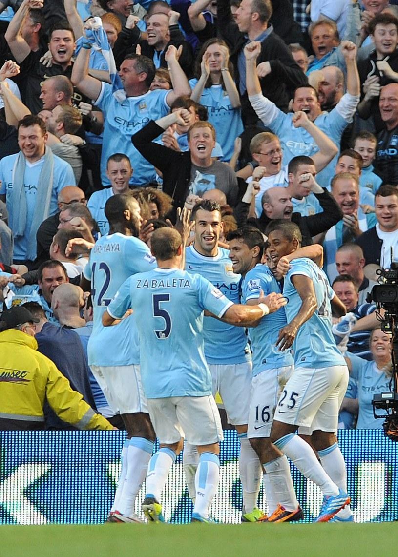 Radość piłkarzy City podczas derbów Manchesteru /AFP