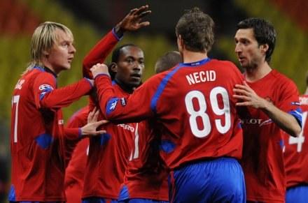 Radość piłkarzy CSKA po strzeleniu gola. /AFP