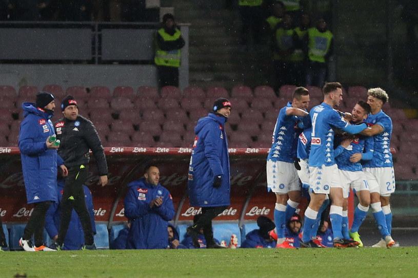Radość piłkarzy Napoli /CESARE ABBATE /PAP/EPA