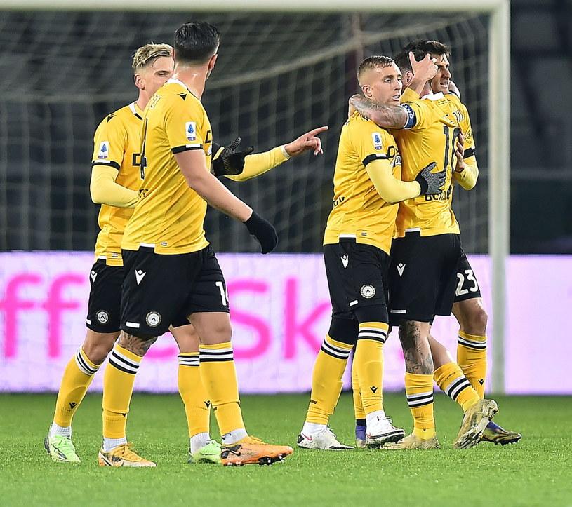 Radość piłkarzy Udinese /ALESSANDRO DI MARCO  /PAP/EPA