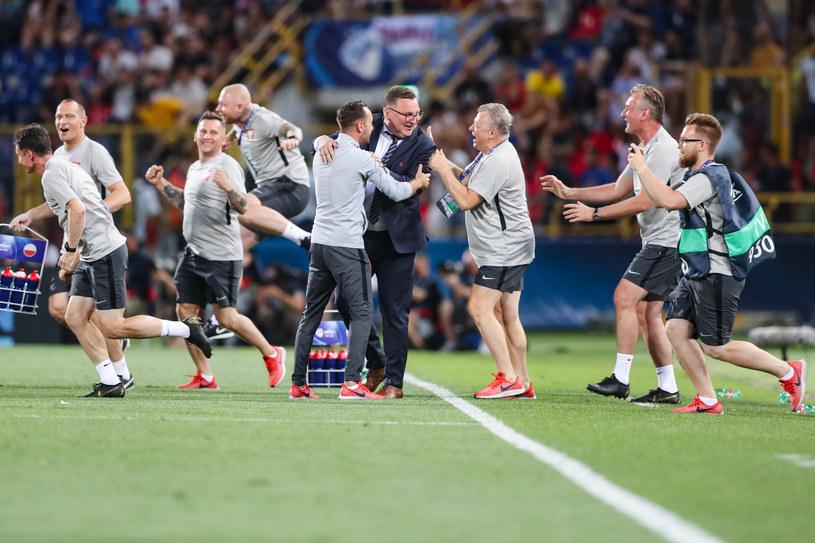 Radość Polaków po wygranej z Włochami na Euro U-21 /Łukasz Grochala /Newspix