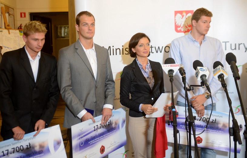 Radosław Kawęcki, Paweł Korzeniowski, Joanna Mucha i Konrad Czerniak /Fot. Bartłomiej Zborowski /PAP