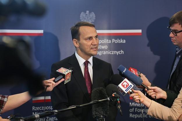 Radosław Sikorski (C) podczas rozmowy z dziennikarzami /fot. R. Guz /PAP