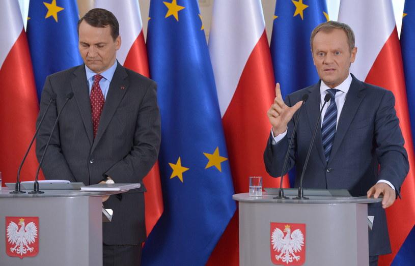 Radosław Sikorski i Donald Tusk /Radek Pietruszka /PAP