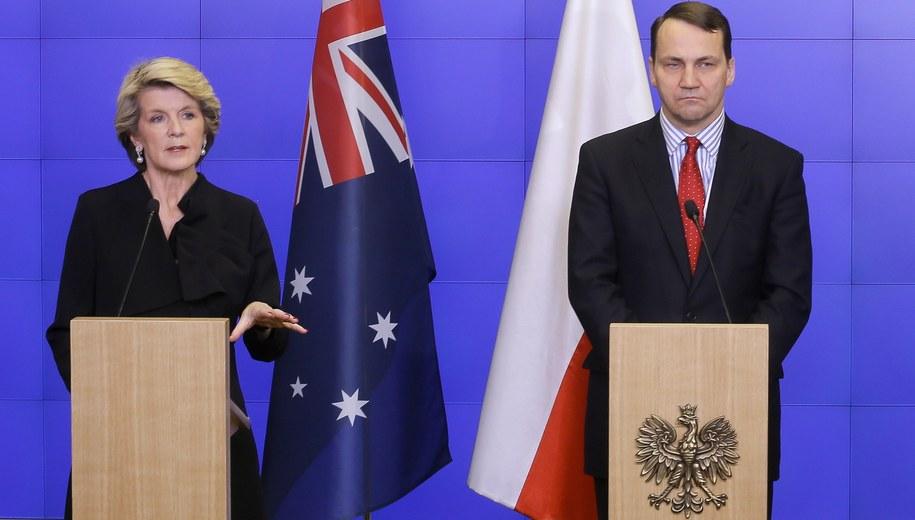 Radosław Sikorski i minister spraw zagranicznych Australii Julie Bishop /Paweł Supernak /PAP