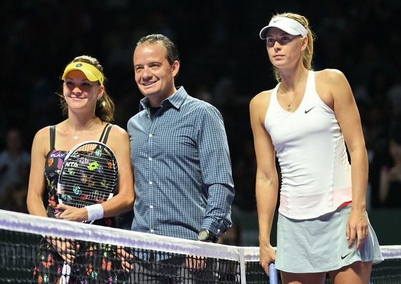 Radwańska i Szarapowa przed meczem WTA Finals /AFP