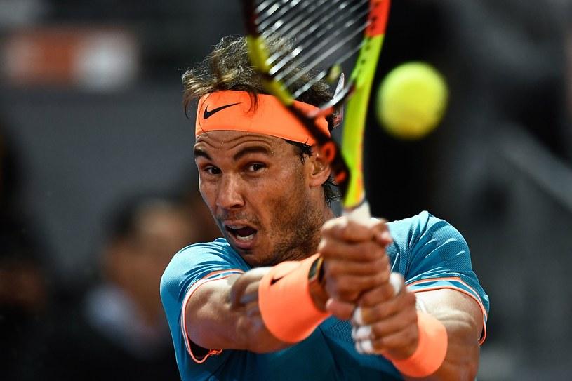 Rafael Nadal podczas piątkowego meczu w Madrycie /AFP