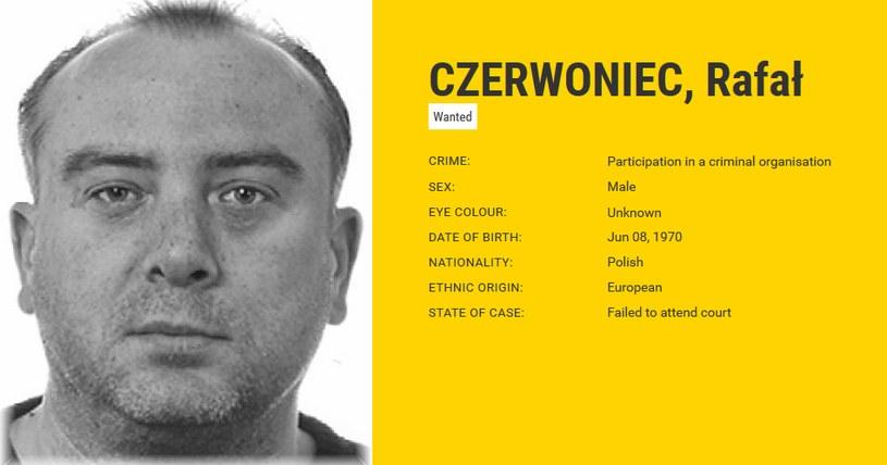 Rafał Czerwoniec na liście najbardziej poszukiwanych przestepców w Europie /eumostwanted.eu /