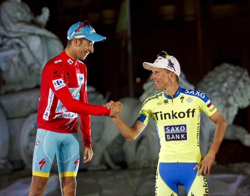 Rafał Majka (z prawej) na podium Vuelta a Espana /AFP