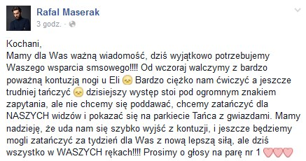 Rafał Maserak nie ma ostatnio szczęścia. Kolejna jego partnerka uległa kontuzji /materiały prasowe