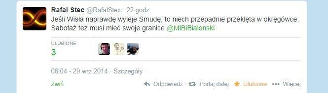 Rafał Stec na Twitterze. /INTERIA.PL