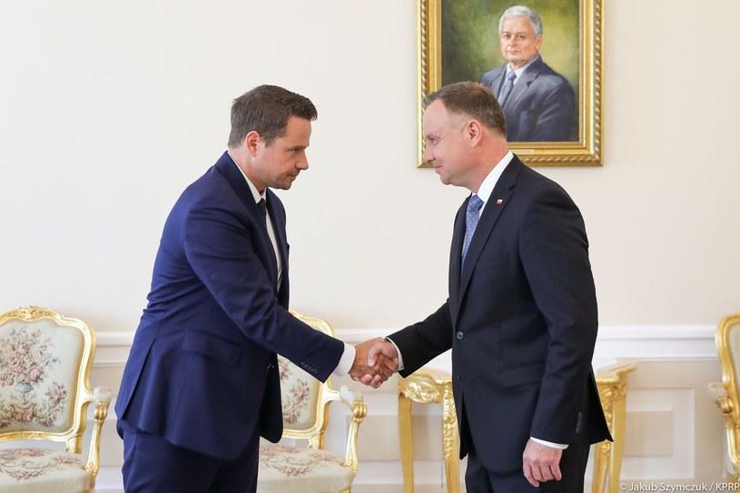Rafał Trzaskowski i Andrzej Duda podczas spotkania w Pąłacu Prezydenckim /Kancelaria Prezydenta /Twitter