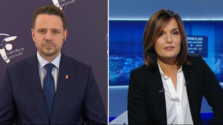 Rafał Trzaskowski i Dorota Gawryluk w Polsat News /Polsat News /Polsat News