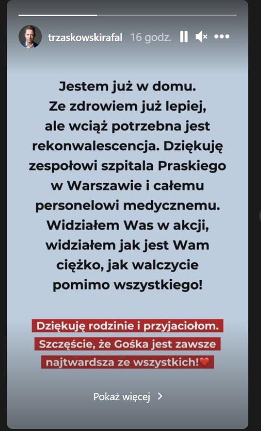 Rafał Trzaskowski na InstaStroy poinformował o tym, że wyszedł ze szpitala - https://www.instagram.com/trzaskowskirafal/?hl=pl /Instagram/trzaskowskirafal  /Instagram