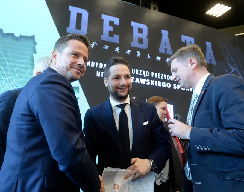 Rafał Trzaskowski, Patryk jaki i Andrzej Rozenek /Jan Bielecki /East News
