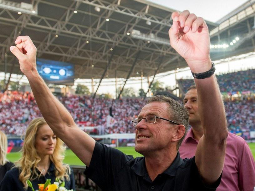 Ralf Rangnick podczas świętowania zwycięstwa RB Lipsk nad Borussią Dortmund /AFP