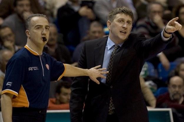 Ramunas Butautas, trener Żalgirisu Kowno podczas meczu z Malagą. /AFP