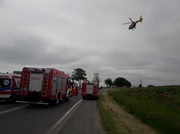 Ranne dzieci zostały przetransportowane do szpitali śmigłowcami /KPP Płońsk /Policja