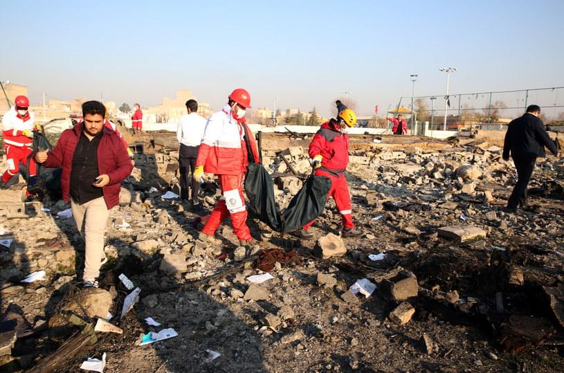 Ratownicy na miejscu katastrofy /Abedin Taherkenareh   /PAP/EPA