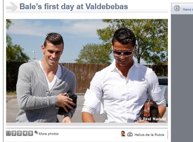Real Madryt zaprezentował zdjęcia z pierwszego dnia Bale'a w klubie. Walijczyka powitał Cristiano Ronaldo /Internet
