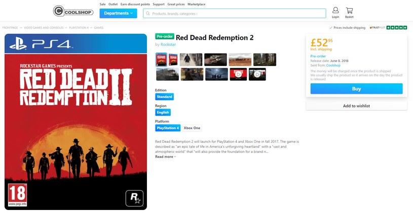 Red Dead Redemption 2 - oferta na stronach sklepu Coolshop /materiały źródłowe