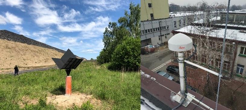 Reflektor sygnałów satelitarnych SAR zainstalowany przy Hałdzie Szarlota (po lewej) oraz antena stacji multi-GNSS: GPS, GLONASS, Galileo, BeiDou zainstalowana w Katowicach (po prawej). Fot. Instytut Geodezji i Geoinformatyki UPWr /materiały prasowe