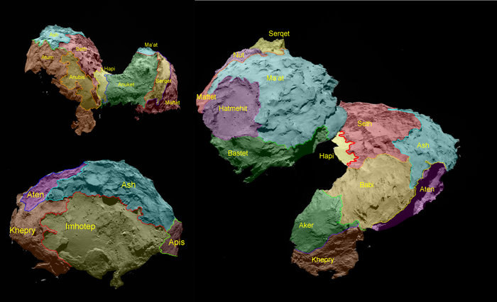 Regiony wyróżnione na powierzchni komety 67P dzięki obserwacjom sondy Rosetta. /materiały prasowe