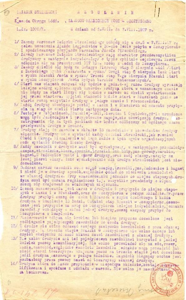 Regulamin zawodów marszowych Łódź – Szczypiorno w dniach od 5 do 7 sierpnia 1927 roku zorganizowanych w 10-tą rocznicę internowania legionistów w Szczypiornie; AAN, Ministerstwo Spraw Zagranicznych, sygn. 200, s. 6. /Archiwum Akt Nowych